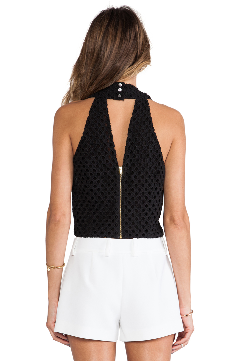 Line & Dot Crossover Neck Eyelet Top in Black from REVOLVEclothing.com
