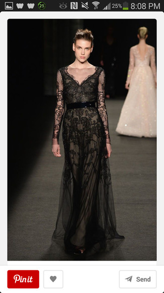 dress gown prom dress black prom monique lhuillier lace formal formal dress lace dress black lace dress