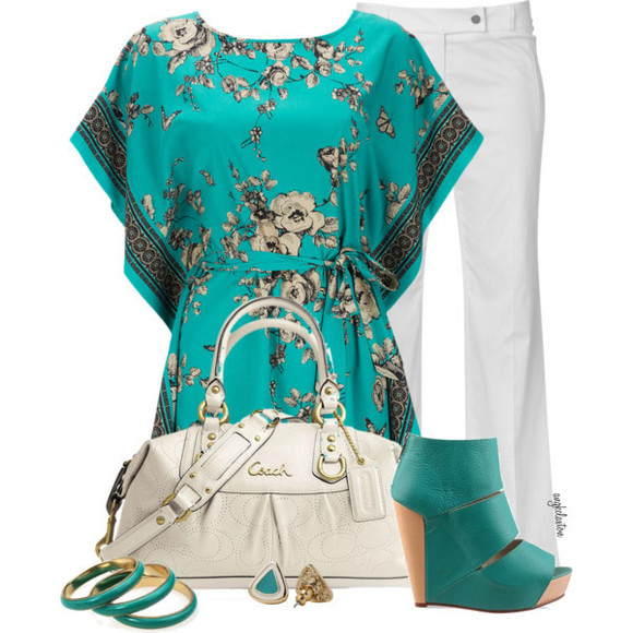 blouse white pants shoes turquoise shoes white purse turquoise shirt jewelry