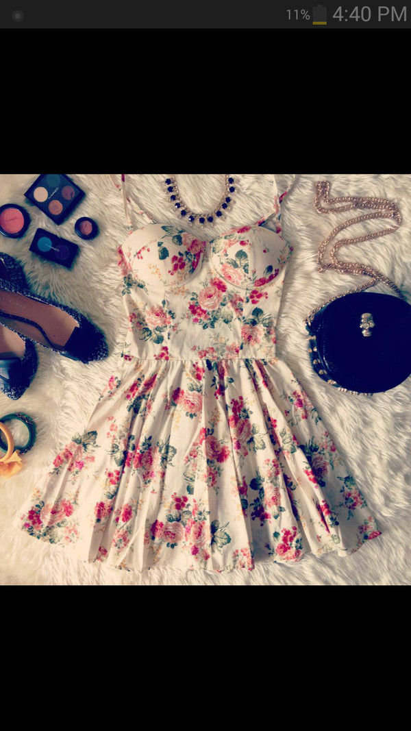 dress floral dress bustier dress cute dress bag jewels shoes
