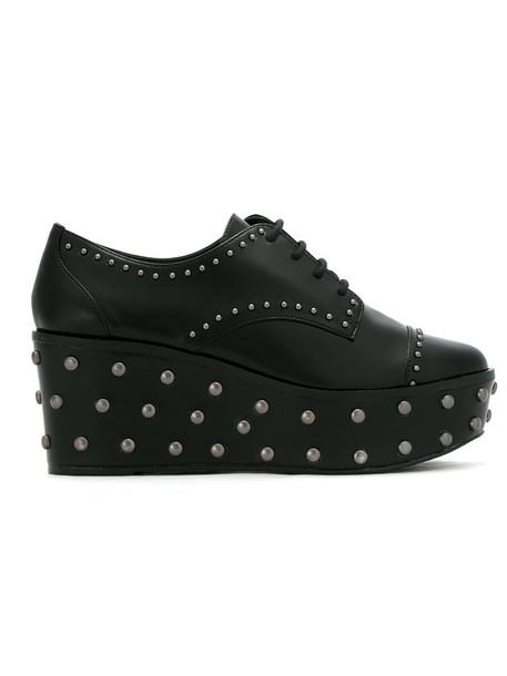 Schutz studded women shoes lace-up shoes lace leather black