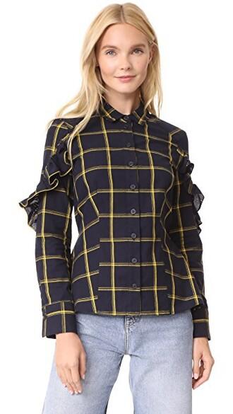 shirt ruffle shirt ruffle yellow top