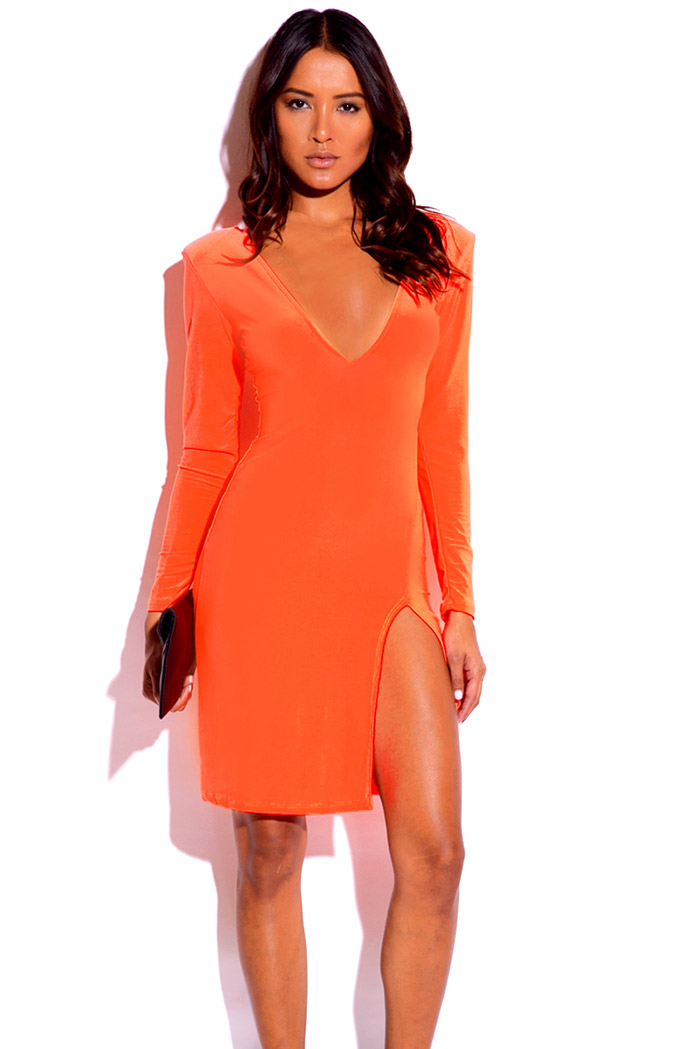 Neon coral orange deep v neck sweetheart backless long sleeve side slit bodycon fitted party midi dress