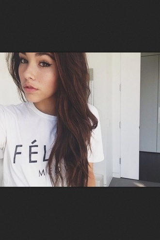 shirt feline madison beer california t-shirt blouse feline white shirt celine cool black white white t-shirt printed shirt pretty feline meow top meow vans cute casual casual top