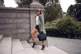 kenza blogger coat jewels shoes top shorts bag sunglasses