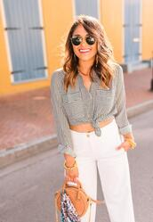 hauteofftherack,blogger,pants,shirt,scarf,shoes,tie-front top,white pants,round bag,spring outfits