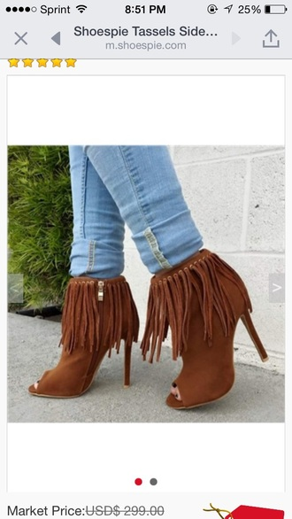 shoes heels booties fringes brown cute suede boots