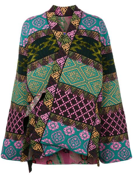 ETRO jacket patchwork metallic women cotton silk green