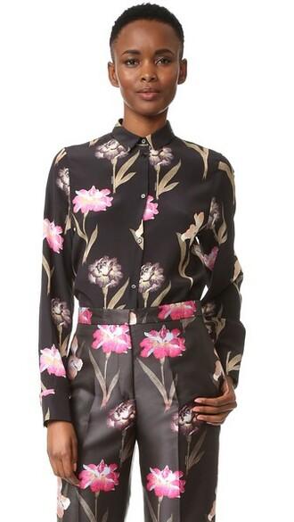 blouse floral black top