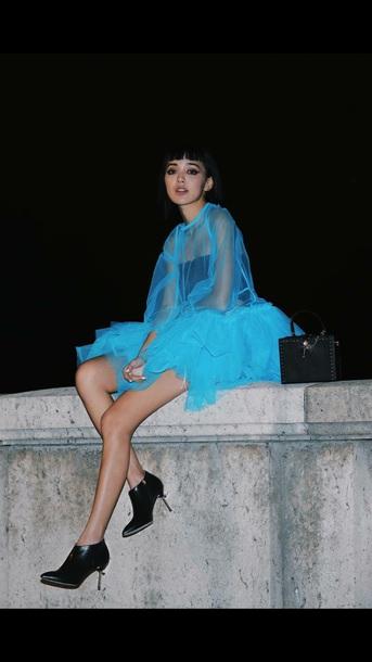 dress blue see thru