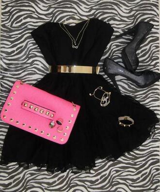 dress black dress gold prom dress belt little black dress high heels black pink jewels shoes