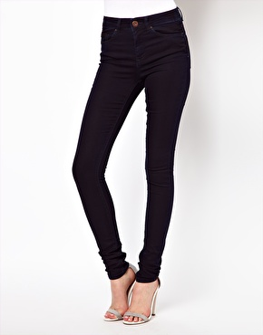 ASOS | ASOS Ridley Supersoft High Waisted Ultra Skinny Jeans in Deep Indigo at ASOS