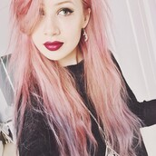 jewels,earrings,moon,amy valentine,pink hair,blogger,red lipstick,eyeliner,indie,hipster,silver,tumblr,girl,magic,hippie,pastel hair,make-up
