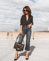 top,shirt,polka dots,pumps,bag,jeans