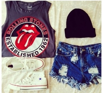 shirt white converse cut offs shorts cutoff jeans cute outfits classic rock ripped shorts black beanie hipster tomboy skater converse high top converse cut off shorts distressed denim shorts the rolling stones hat shoes