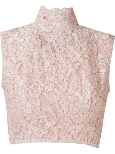 a4a3137fae3db3 Martha Medeiros crop lace blouse in pink / purple - Wheretoget