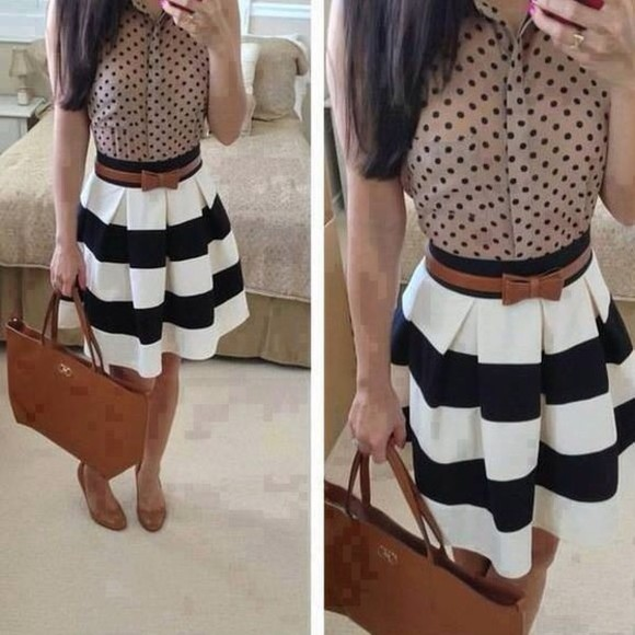 stripes black and white belt polka dots tan color bow dress