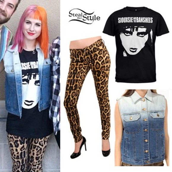 black cheetah print shirt jeans hayley williams paramore blue jean jacket jacket