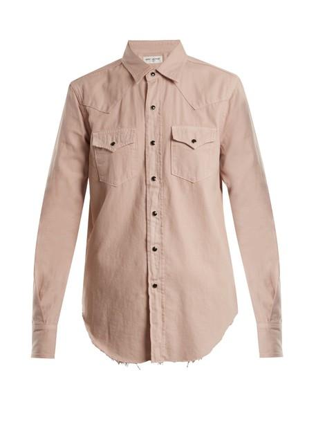 Saint Laurent shirt denim shirt denim cotton light pink light pink top