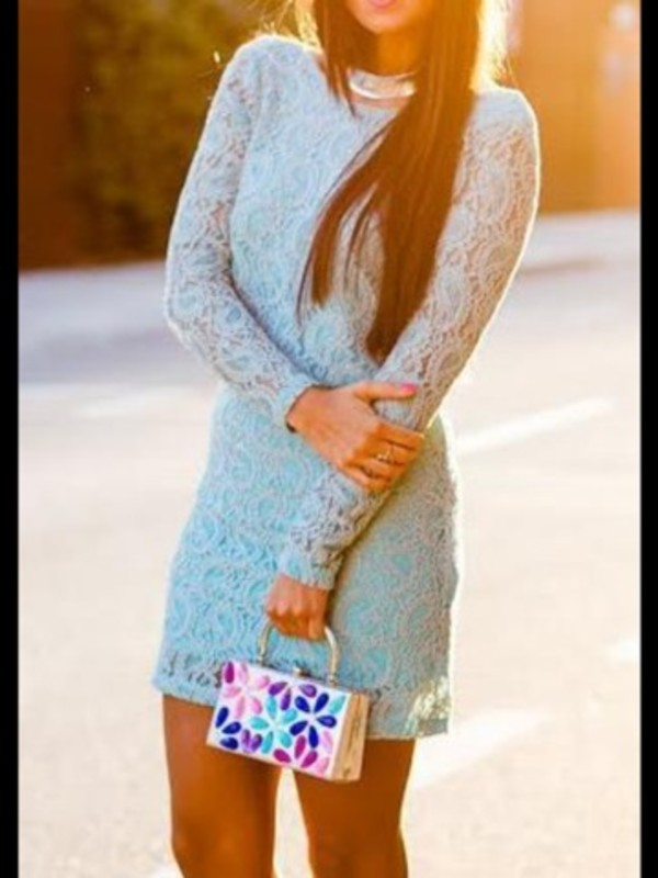 dress mini dress teal long sleeves lace comfy