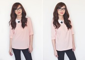 temporary secretary,blogger,top,cats,collar,baby pink,jeans