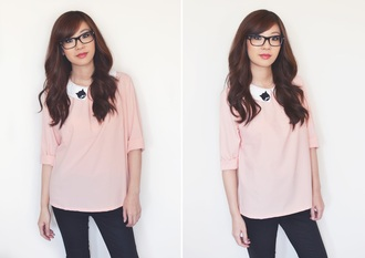 temporary secretary blogger top cats collar baby pink