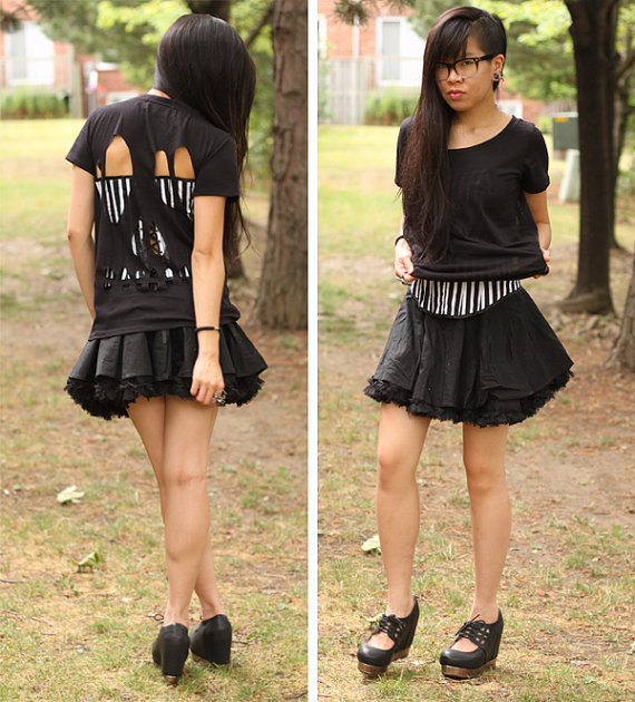 Black Skull CutOut Tee  XS M by lipglossandblack on Etsy