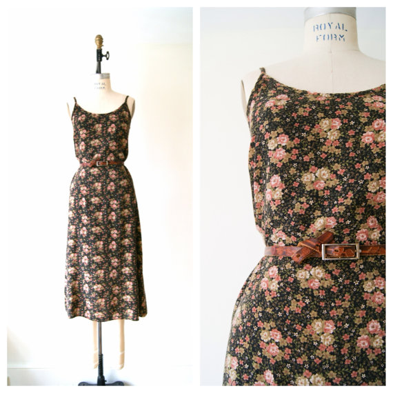 90s Dress. Floral Print Tank Dress. by NewOldFashionVintage