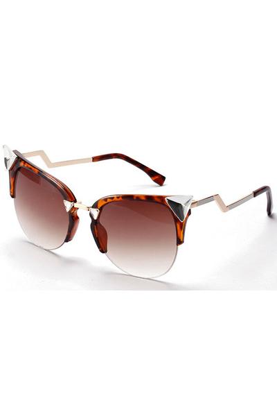 Leopard Faux Jewel Winding Tinted Cat Eye Sunglasses