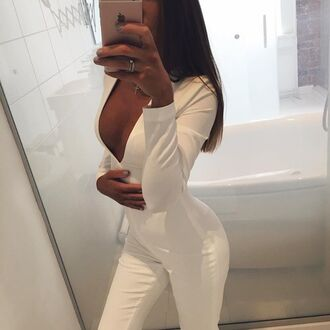 jumpsuit white prom look prom date outfit elegant
