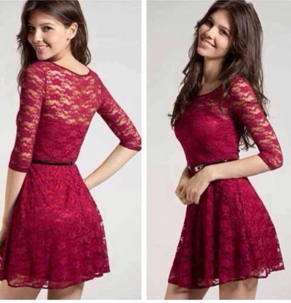 dress burgundy 3/4 skater cute ♡ cute dress red love it! pretty lace lace dark red brunette lace dress burgundy dress short dress