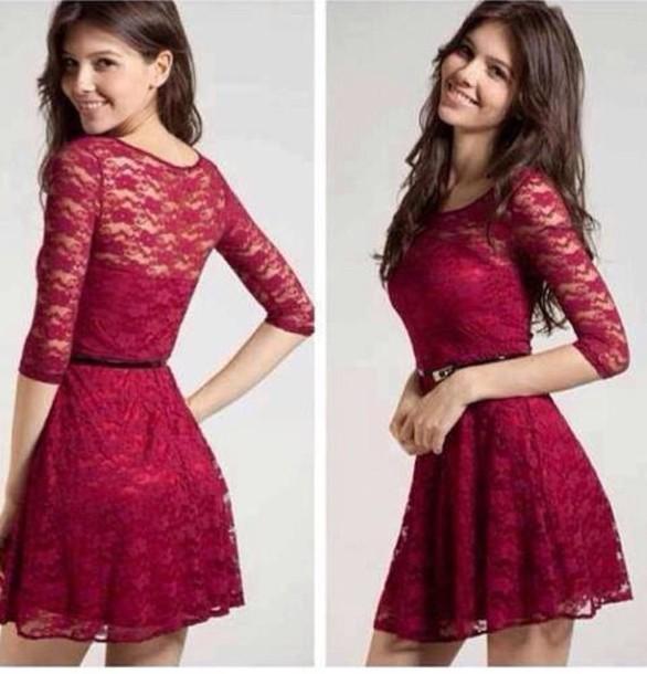 1a7636083d dress burgundy 3 4 skater cute red dress lace ♡ cute dress red love it