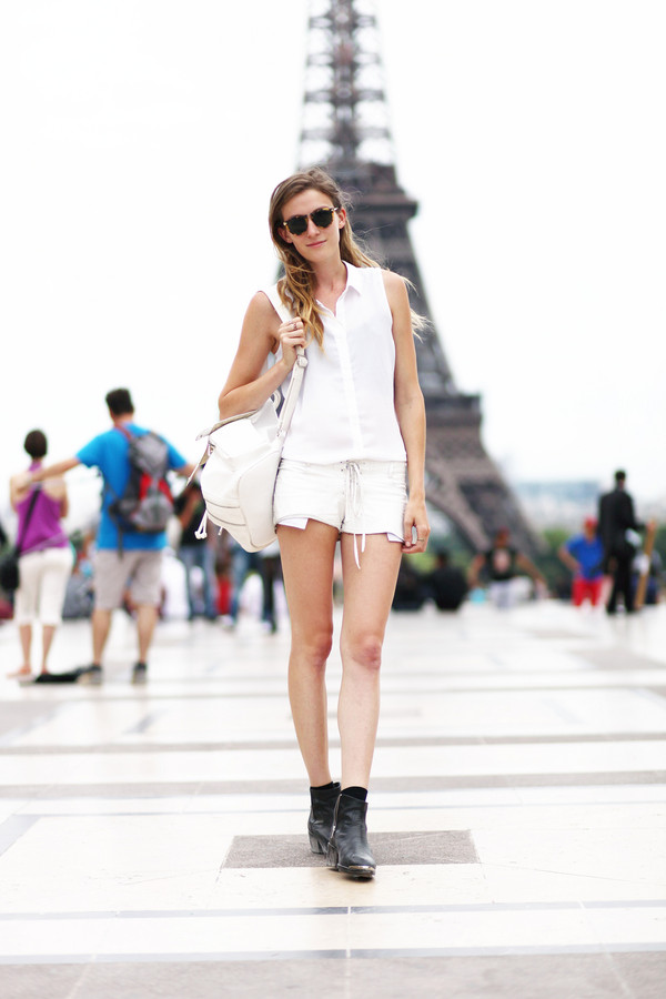 le fur coat sunglasses shirt shorts