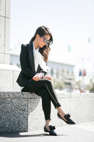 wendy's lookbook blogger top jacket sunglasses blouse