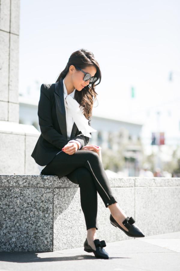 wendy's lookbook blogger top jacket blouse sunglasses