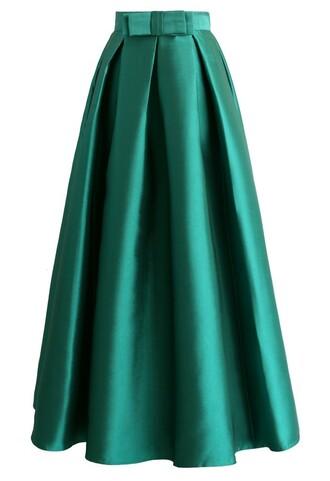 skirt bowknot pleated full maxi skirt in green maxi skirt green skirt pleated skirt bowknot chicwish