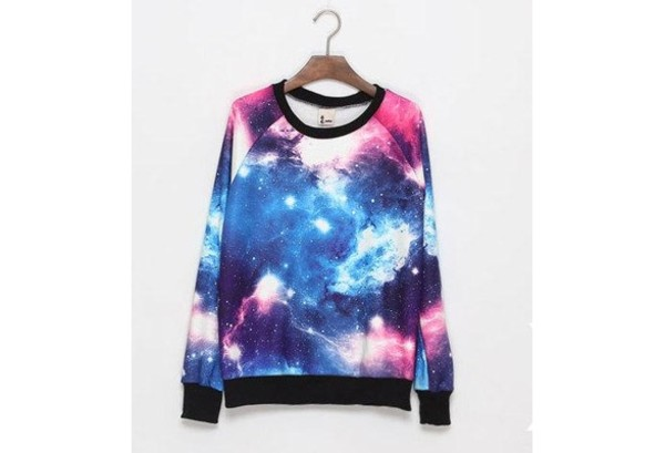 sweater galaxy print galaxy shirt galaxy top galaxy sweater sweatshirt colorful colorful pretty hipster