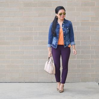 morepiecesofme blogger top tank top fall outfits denim jacket handbag pumps pants