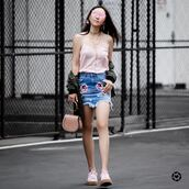 top,skirt,tumblr,pink top,camisole,necklace,jewelry,gold jewelry,mini skirt,denim skirt,embroidered denim skirt,embroidered skirt,sneakers,pink sneakers,bag,pink bag,shoes