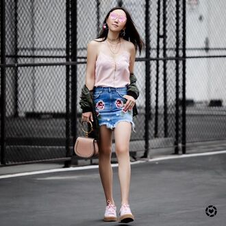 top skirt tumblr pink top camisole necklace jewelry gold jewelry mini skirt denim skirt embroidered denim skirt embroidered skirt sneakers pink sneakers bag pink bag shoes