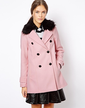 Island | River Island Double Breasted Coat With Black Fur Collar ...
