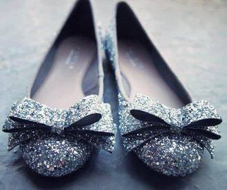 shoes silver shoes flat shoes silver bow shoes prom shoes prom ballet flats glitter wedding clothes party shoes
