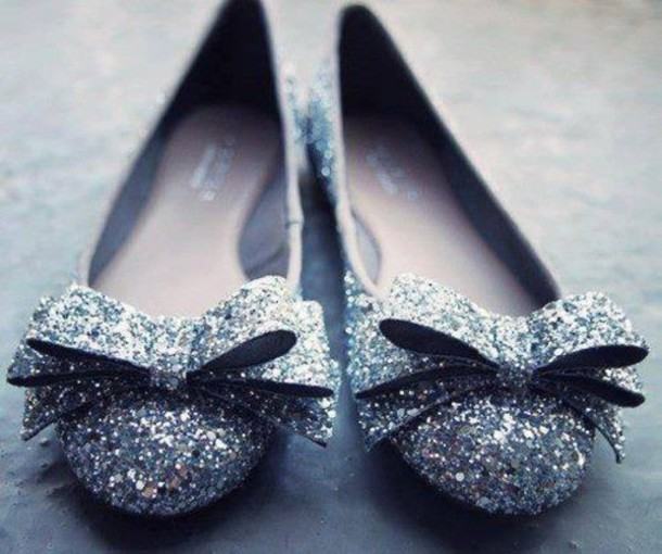 c6c52aa16d66 shoes silver shoes flats silver bow shoes prom shoes prom ballet flats  glitter party shoes wedding