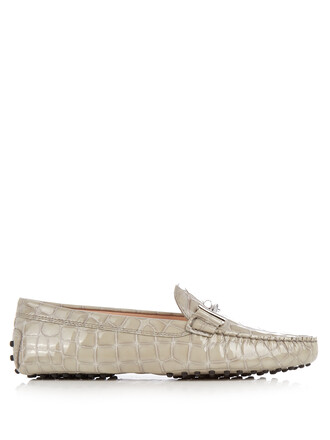 loafers leather crocodile grey shoes