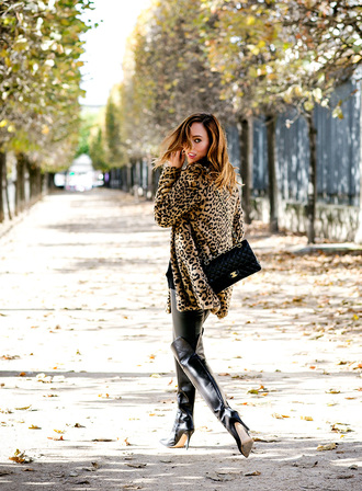 coat tumblr leopard print fur leopard print winter coat fur coat bag black bag boots black boots over the knee boots high heels boots pants black pants