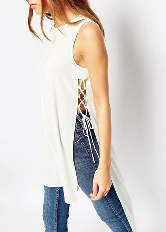 top girl girly girly wishlist white white top high low lace up tie up cute