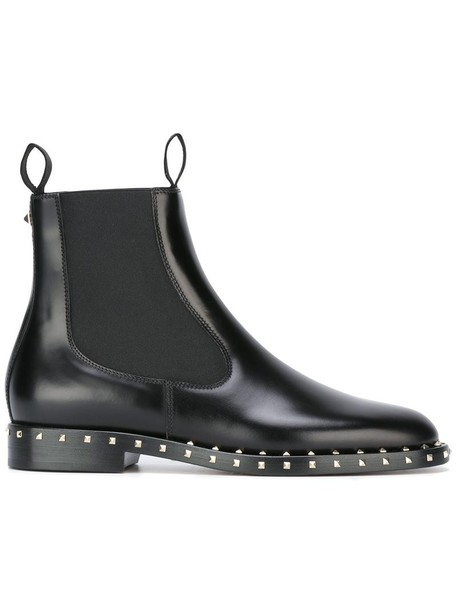 Valentino women boots chelsea boots leather black shoes