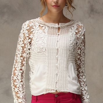 White Crochet Lace Blouse - OASAP.com on Wanelo