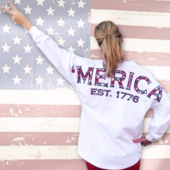 sweater sweatshirt shirt american flag american red white and blue