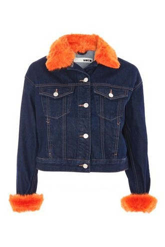 jacket denim jacket denim fur faux fur orange